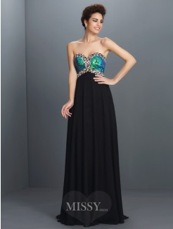 A-Line/Princess Sleeveless Sweetheart Paillette Floor-Length Chiffon Dress