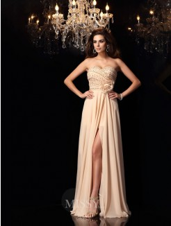A-Line/Princess Sweetheart Chiffon Sleeveless Floor-Length Hand-Made Flower Dresses