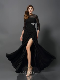 A-Line/Princess Bateau 3/4 Sleeves Chiffon Floor-Length Lace Dresses