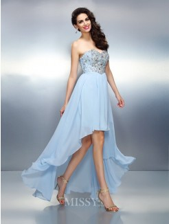 A-Line/Princess Sleeveless Sweetheart Ruffles Asymmetrical Chiffon Dress