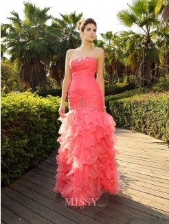 Trumpet/Mermaid Strapless Floor-Length Sleeveless Beading Organza Dresses