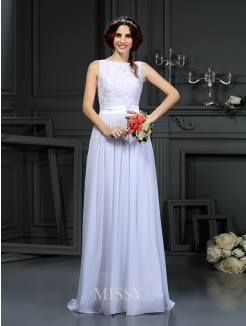 A-Line/Princess Sleeveless Scoop Lace Chiffon Floor-Length Wedding Dresses