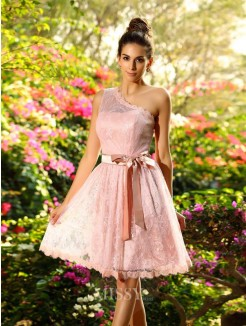 A-Line/Princess Sleeveless Sash/Ribbon/Belt One-Shoulder Elastic Woven Satin Knee-Length Dresses