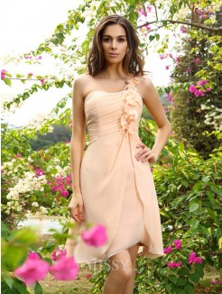 A-Line/Princess One-Shoulder Chiffon Knee-Length Sleeveless Ruched Bridesmaid Dresses