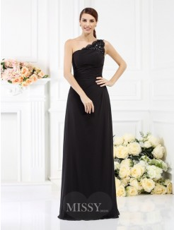 Sheath/Column Sleeveless One-Shoulder Floor-Length Satin Bridesmaid Dresses