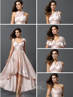 Sheath/Column Sleeveless Asymmetrical Silk like Satin Convertible Dresses