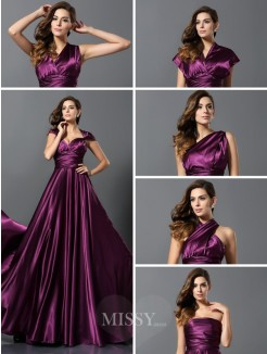 A-Line/Princess Sleeveless Pleats Silk like Satin Floor-Length Convertible Dresses