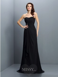Trumpet/Mermaid Strapless Sleeveless Pleats Sweep/Brush Train Chiffon Bridesmaid Dresses