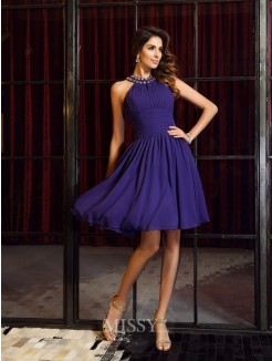 A-Line/Princess Sleeveless High Neck Chiffon Knee-Length Pleats Bridesmaid Dresses