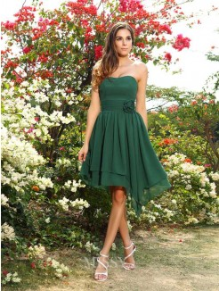 A-Line/Princess Sleeveless Hand-Made Flower Sweetheart Chiffon Bridesmaid Dresses