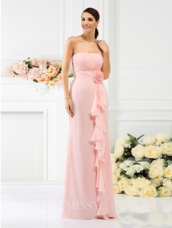 Sheath/Column Strapless Sleeveless Hand-Made Flower Floor-Length Chiffon Bridesmaid Dresses
