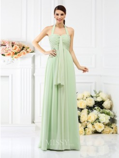A-Line/Princess Halter Sleeveless Pleats Floor-Length Chiffon Bridesmaid Dresses