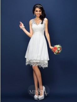 A-Line/Princess Sleeveless V-neck Lace Short/Mini Satin Bridesmaid Dresses
