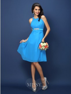 A-Line/Princess Bateau Sleeveless Sash/Ribbon/Belt Knee-Length Chiffon Bridesmaid Dresses