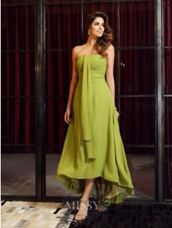 A-Line/Princess Sleeveless Chiffon Asymmetrical Strapless Bridesmaid Dresses