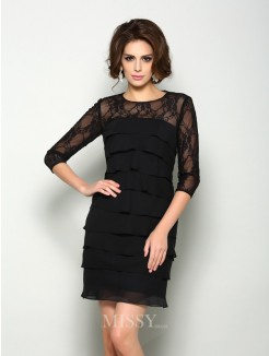 A-Line/Princess Scoop 1/2 Sleeves Short/Mini Chiffon Mother of the Bride Dress