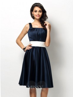 Sheath/Column Square Sleeveless Sash/Ribbon/Belt Knee-Length Satin Bridesmaid Dresses