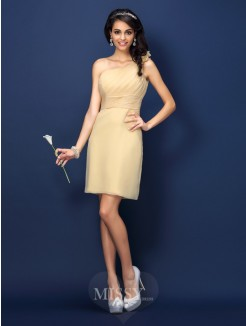 Sheath/Column Sleeveless One-Shoulder Hand-Made Flower Short/Mini Chiffon Bridesmaid Dresses