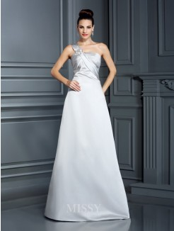 A-Line/Princess Sleeveless One-Shoulder Floor-Length Satin Dresses