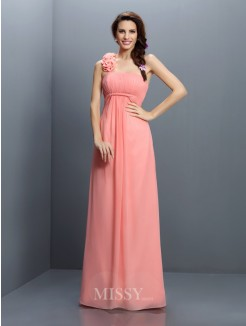 A-Line/Princess Strapless Sleeveless Hand-Made Flower Floor-Length Chiffon Bridesmaid Dresses