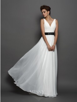 A-Line/Princess Sleeveless V-neck Chiffon Sash/Ribbon/Belt Floor-Length Wedding Dresses
