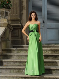 A-Line/Princess Sleeveless Sweetheart Silk like Satin Floor-Length Dresses