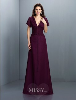 A-Line/Princess V-neck Short Sleeves Ruched Floor-Length Chiffon Dress
