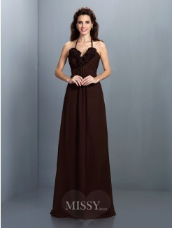 A-Line/Princess Halter Sleeveless Hand-Made Flower Floor-Length Chiffon Dress