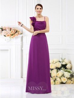 Sheath/Column Spaghetti Straps Sleeveless Hand-Made Flower Floor-Length Chiffon Bridesmaid Dresses