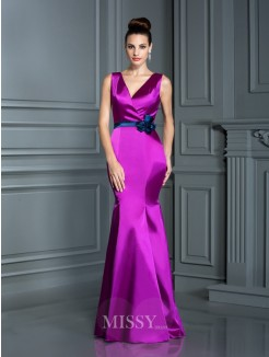 Trumpet/Mermaid Sleeveless V-neck Hand-Made Flower Floor-Length Elastic Woven Satin Dresses