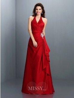 A-Line/Princess Halter Sleeveless Beading Floor-Length Taffeta Dresses