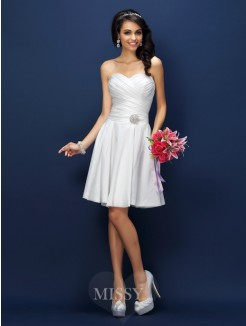 A-Line/Princess Sleeveless Sweetheart Pleats Short/Mini Taffeta Bridesmaid Dresses