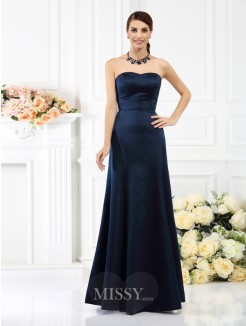 Sheath/Column Strapless Sleeveless Floor-Length Satin Bridesmaid Dresses