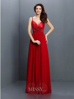 A-Line/Princess V-neck Spaghetti Straps Sleeveless Hand-Made Flower Floor-Length Chiffon Bridesmaid Dresses