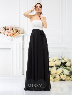 A-Line/Princess Strapless Sleeveless Sash/Ribbon/Belt Floor-Length Chiffon Bridesmaid Dresses