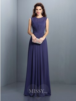 A-Line/Princess Sleeveless High Neck Pleats Floor-Length Chiffon Dress