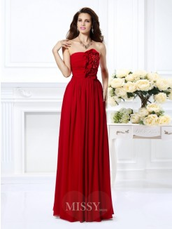 A-Line/Princess Strapless Sleeveless Hand-Made Flower Floor-Length Chiffon Dress