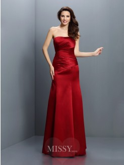 Sheath/Column Strapless Sleeveless Pleats Floor-Length Satin Bridesmaid Dresses