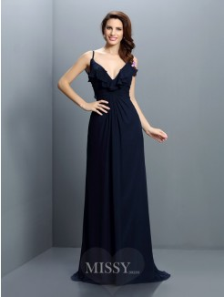 A-Line/Princess Spaghetti Straps Sleeveless Pleats Sweep/Brush Train Chiffon Bridesmaid Dresses