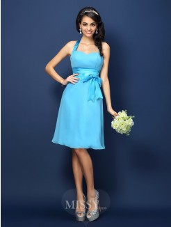 Sheath/Column Halter Sleeveless Bowknot Knee-Length Chiffon Bridesmaid Dresses