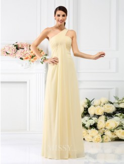 A-Line/Princess Sleeveless One-Shoulder Pleats Floor-Length Chiffon Bridesmaid Dresses
