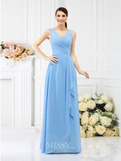 Sheath/Column Sleeveless V-neck Beading Floor-Length Chiffon Bridesmaid Dresses
