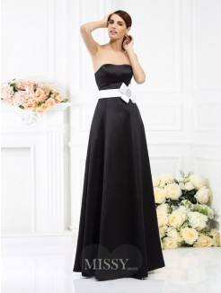A-Line/Princess Strapless Sleeveless Sash/Ribbon/Belt Floor-Length Satin Bridesmaid Dresses