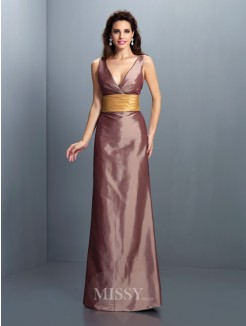Sheath/Column Sleeveless V-neck Pleats Floor-Length Taffeta Dresses