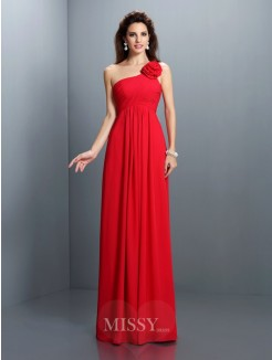A-Line/Princess Sleeveless One-Shoulder Pleats Hand-Made Flower Floor-Length Chiffon Dress
