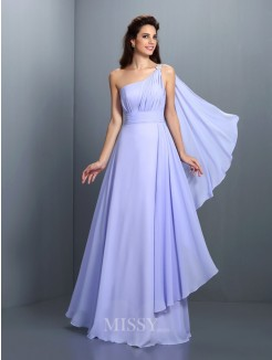 A-Line/Princess Sleeveless One-Shoulder Pleats Floor-Length Chiffon Dress