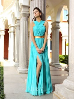 A-Line/Princess Chiffon Pleats Sleeveless Floor-Length Dresses