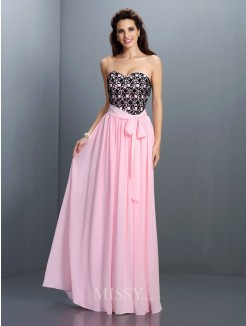 A-Line/Princess Sleeveless Sweetheart Lace Floor-Length Chiffon Dress