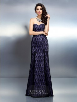 Trumpet/Mermaid Sleeveless Sweetheart Lace Floor-Length Satin Dresses