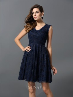 A-Line/Princess Sleeveless V-neck Lace Satin Short/Mini Bridesmaid Dresses